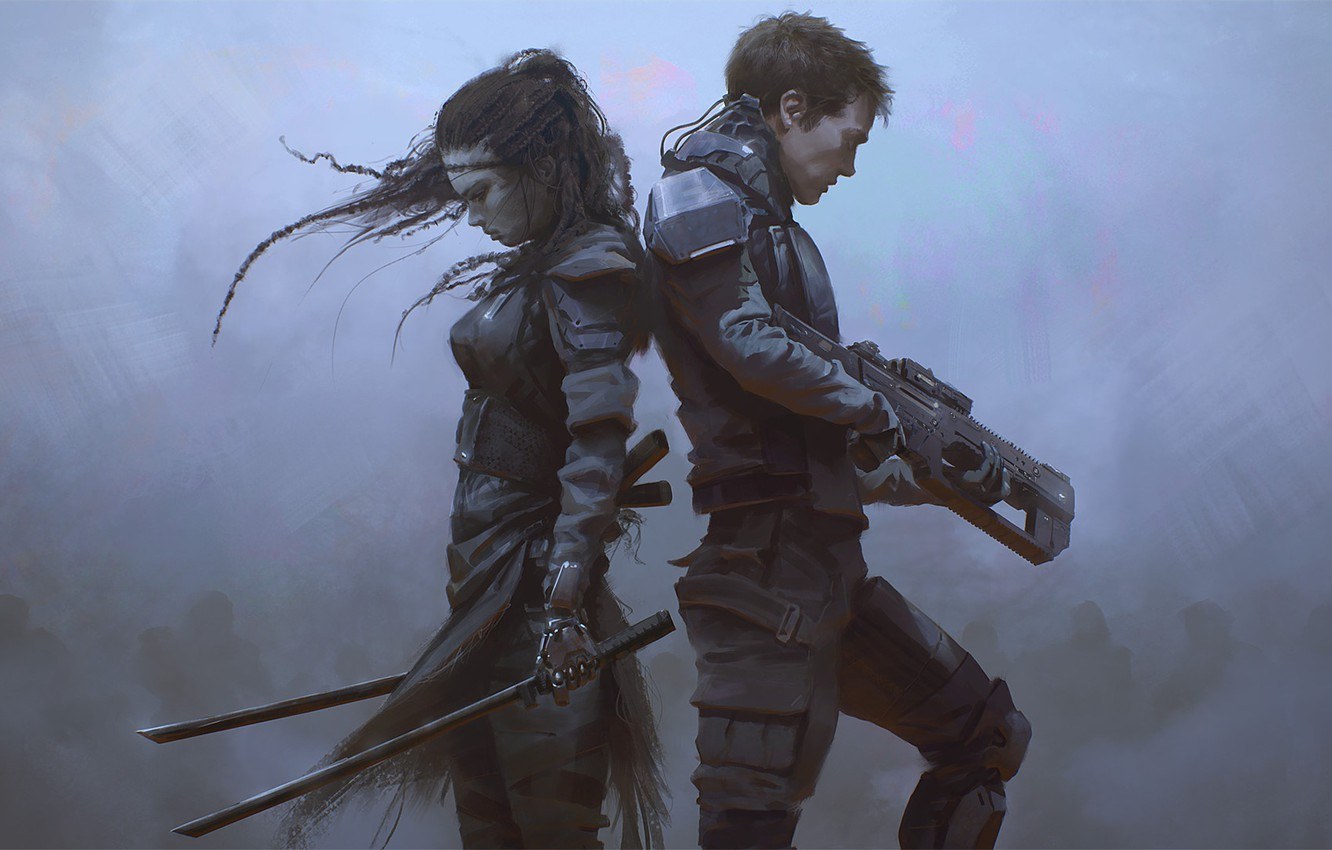 Photo wallpaper girl, weapons, art, guy, sci-fi, back to back