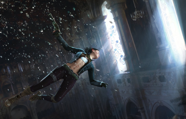 Photo wallpaper weapons, flight, Shattered, girl flying