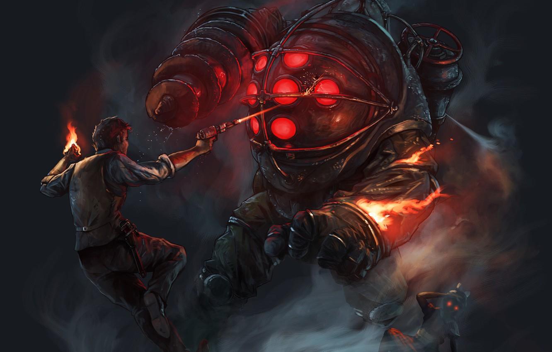 Wallpaper Fire Shot Monster Big Daddy Bioshock Images
