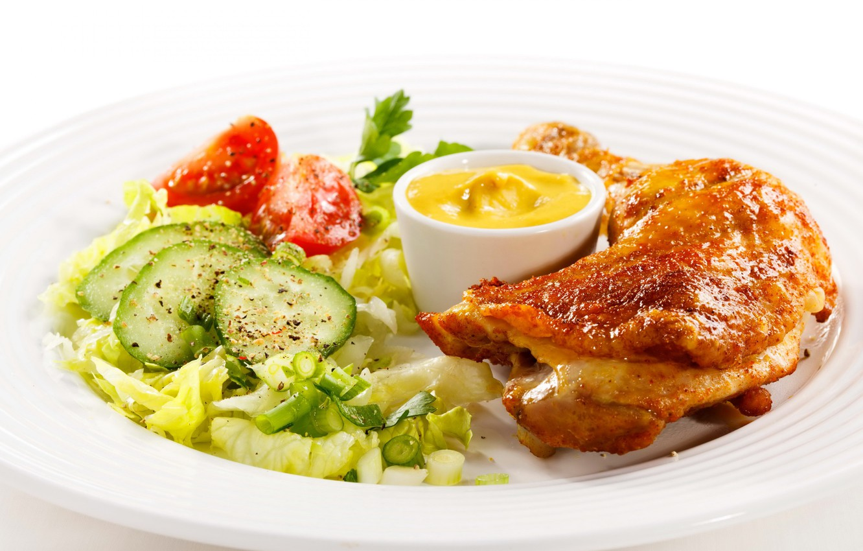 Photo wallpaper chicken, cucumber, meat, leg, tomato, mustard