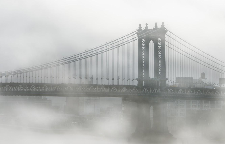 Photo wallpaper bridge, city, the city, fog, New York, Brooklyn, USA, USA, America, architecture, Manhattan, New York, …