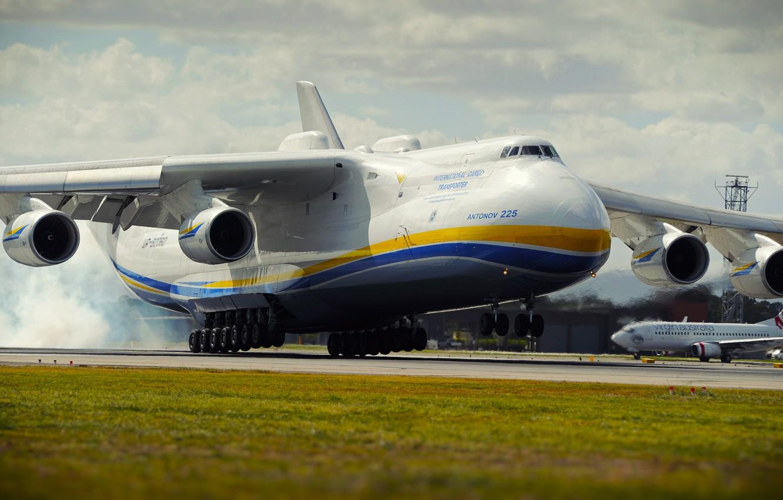 Photo wallpaper The plane, Strip, Wings, Engines, Dream, Ukraine, Mriya, The an-225, Airlines, Soviet, Landing, Cargo, Antonov …