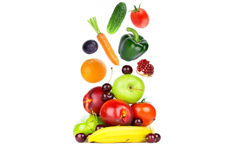Photo wallpaper cherry, apples, orange, cucumber, white background, pepper, fruit, banana, vegetables, tomatoes, carrots, garnet, drain