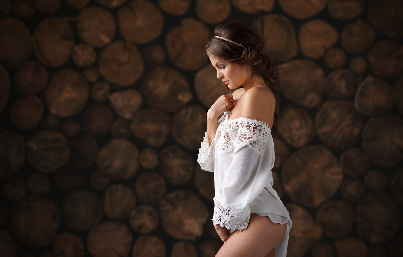 Photo wallpaper forest, girl, tree, focus, dress, logs, in white, Cape, frame, Tasha, Dennis Drozhzhin