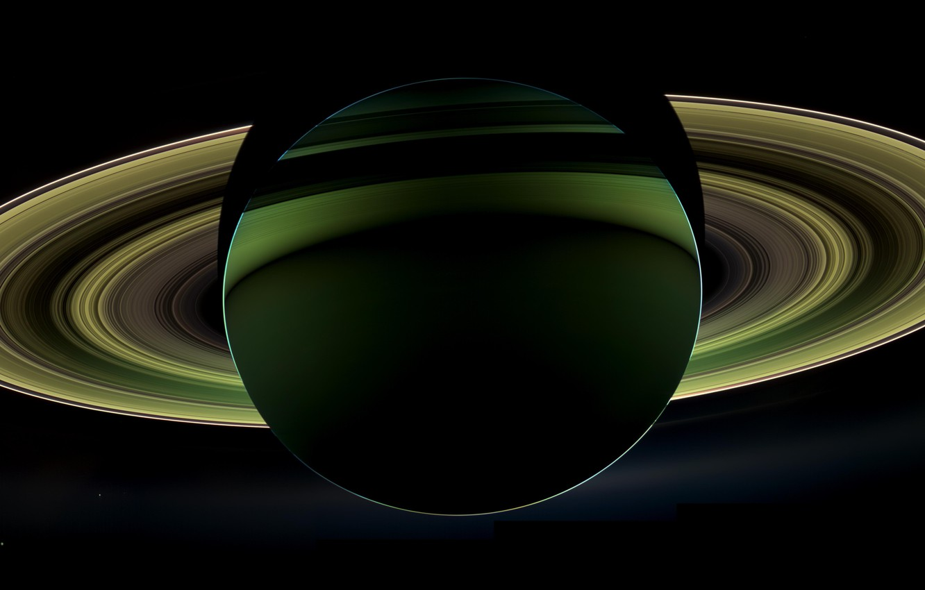 Photo wallpaper view, Saturn, from the dark side