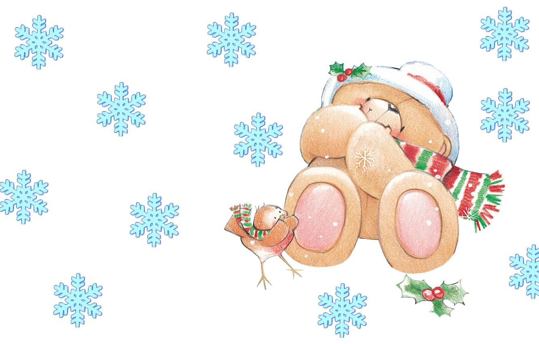 Photo wallpaper winter, mood, art, bear, New year, bird, snowflake, children's, Forever Friends Deckchair bear