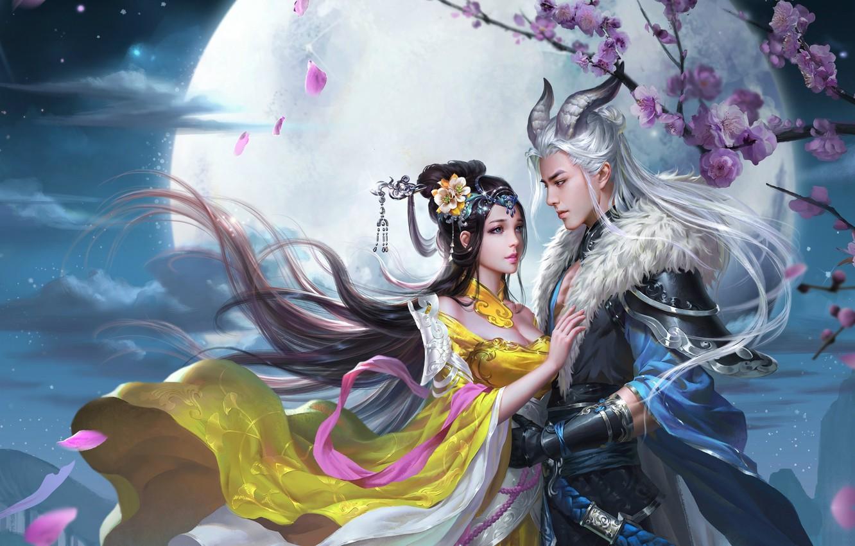 Photo wallpaper love, night, the moon, the game, meeting, spring, Sakura, art, pair, fantasy, date