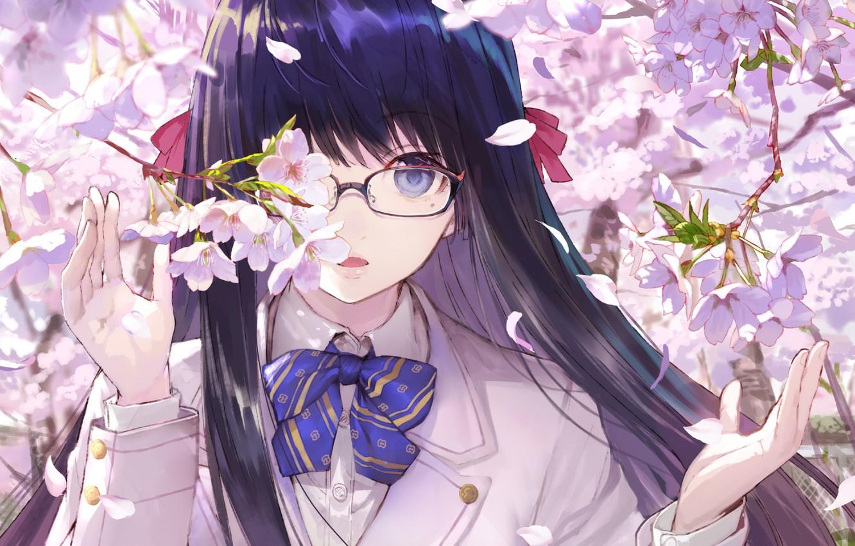 Photo wallpaper branches, face, spring, hands, Sakura, glasses, girl, schoolgirl, bow, flowering, long hair, bangs