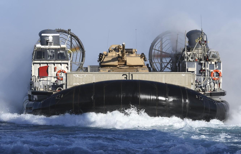 Photo wallpaper tank, hovercraft, LCAC, Landing ship