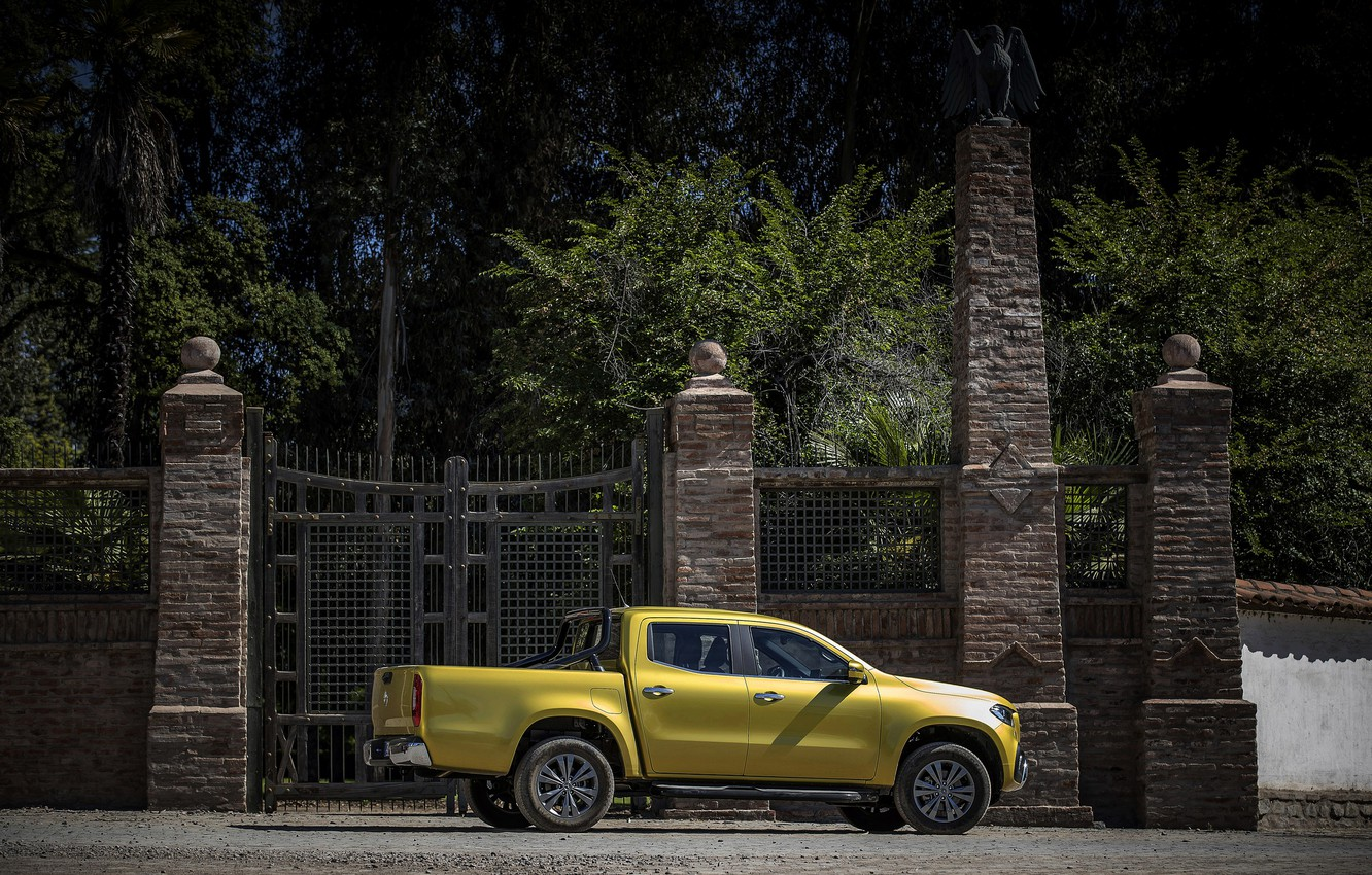 Photo wallpaper trees, yellow, the fence, Mercedes-Benz, gate, pickup, 2017, X-Class