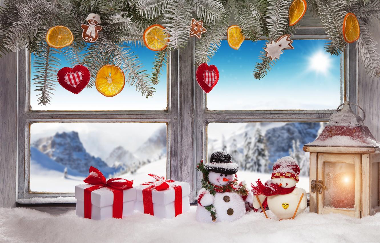 Photo wallpaper winter, snow, decoration, New Year, window, Christmas, gifts, Christmas, winter, snow, window, Merry Christmas, Xmas, …