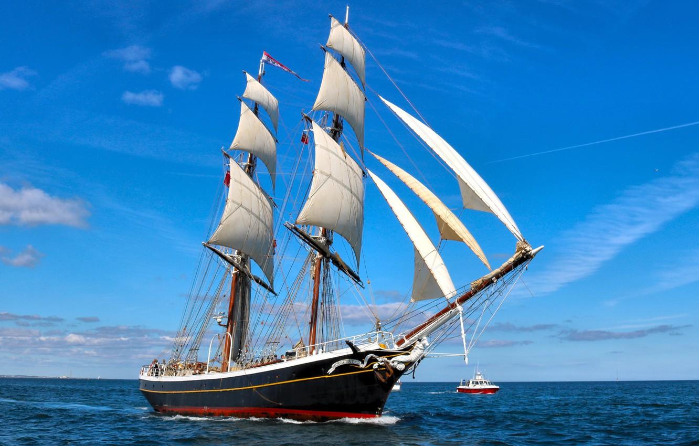 Photo wallpaper sea, sailboat, boat, brig, North sea, Brig Morgenster