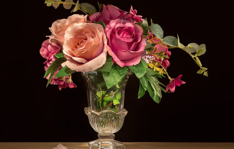 Photo wallpaper flowers, roses, petal, vase