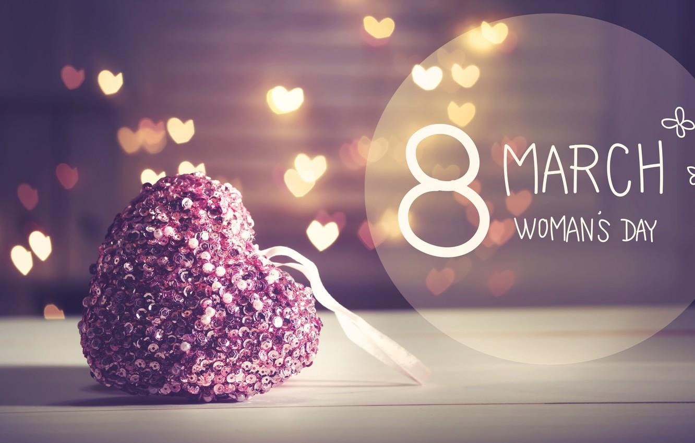 Photo wallpaper gift, March 8, hearts, bokeh, Women's Day