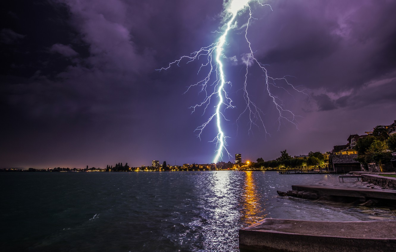 Photo wallpaper the storm, the sky, trees, night, clouds, lights, lake, shore, zipper, home, Switzerland, bad weather, …
