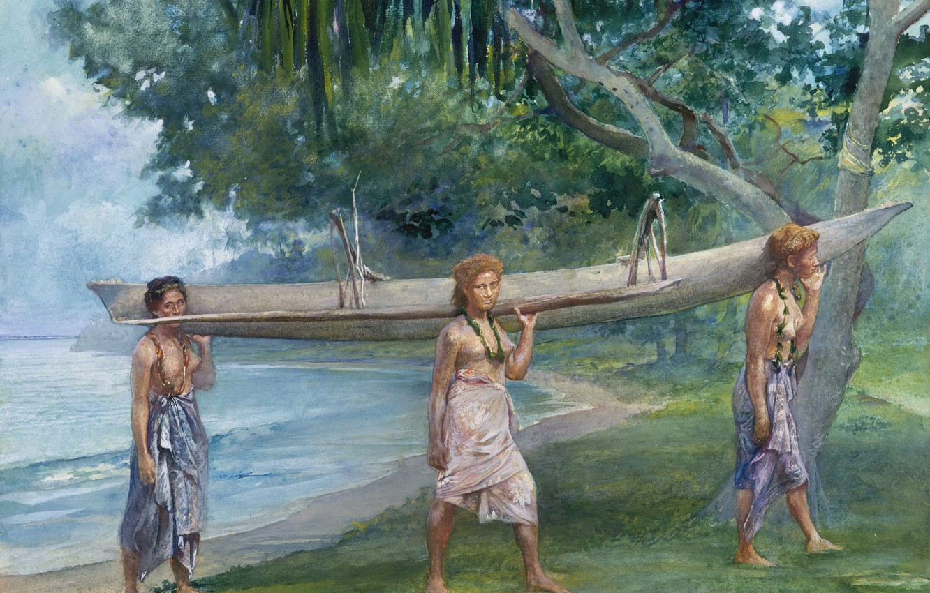 Wallpaper figure watercolor Girls carrying a canoe John La