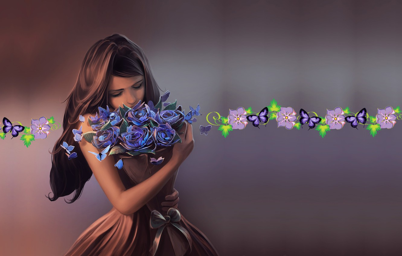 Photo wallpaper butterfly, mood, bouquet, art, girl, Cyril Rolando, Ephemeral Beauty