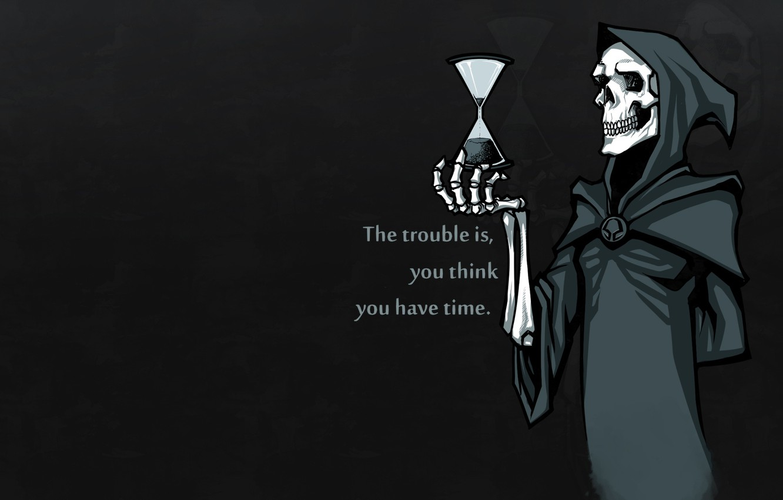 Photo wallpaper minimalism, Sake, time, black background, bones, skeleton, simple background, hoods, hourglasses
