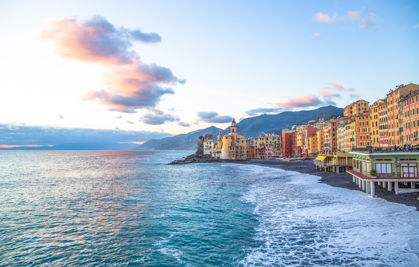 Photo wallpaper sea, beach, shore, Italy, Italy, travel, Camogli, Liguria, basilica