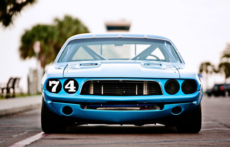Photo wallpaper Dodge Challenger, race, 1973, blue car