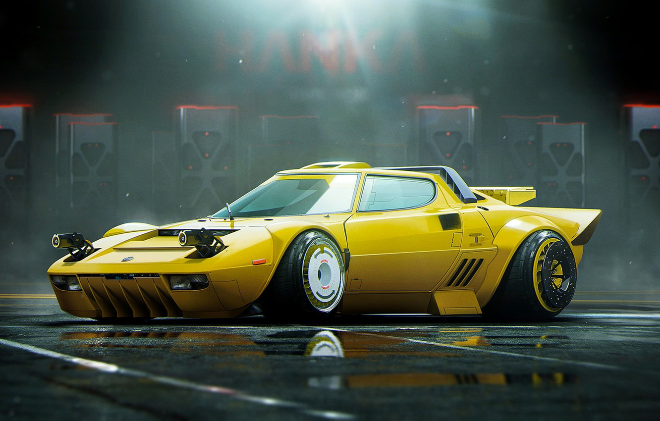 Photo wallpaper Yellow, Lancia, Tuning, Future, Stance, Stratos, by Khyzyl Saleem