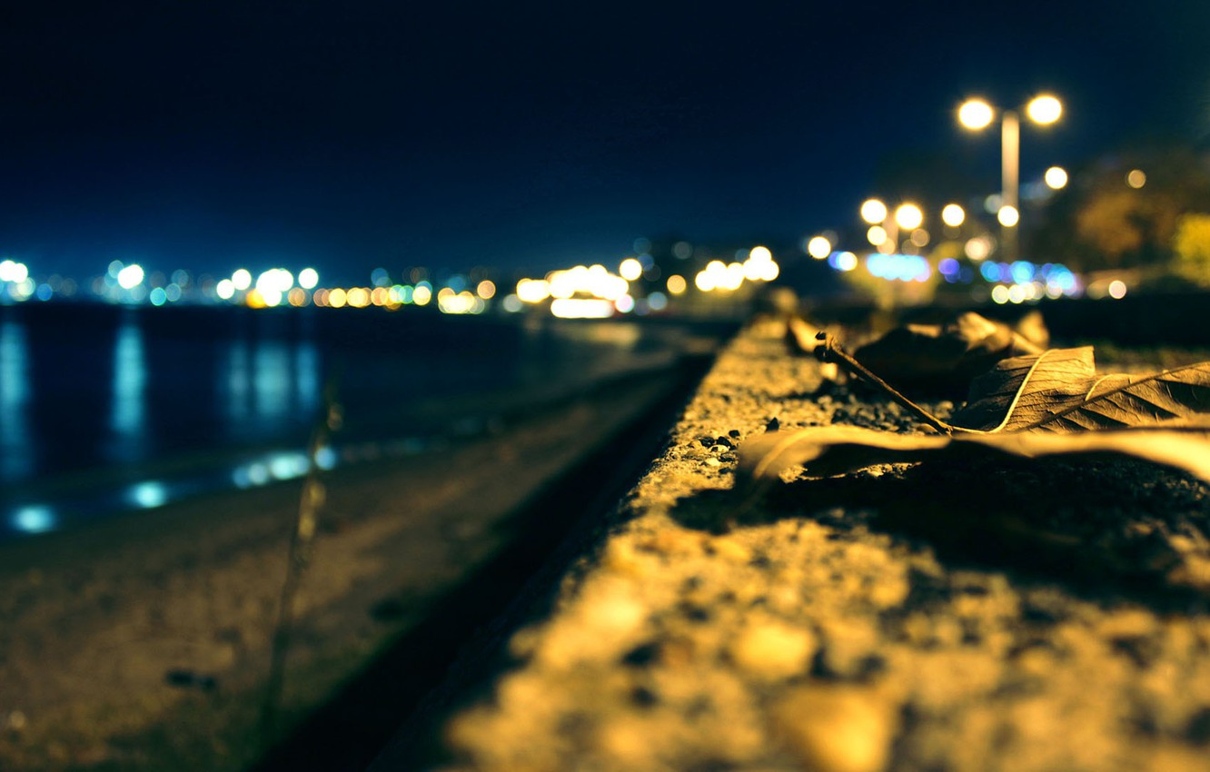 Photo wallpaper light, night, the city, lights, promenade, bokeh