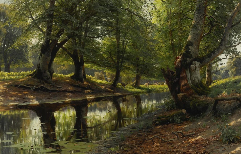Photo wallpaper trees, landscape, nature, picture, Peter Merk Of Menstad, Peder Mørk Mønsted, The stream in the …