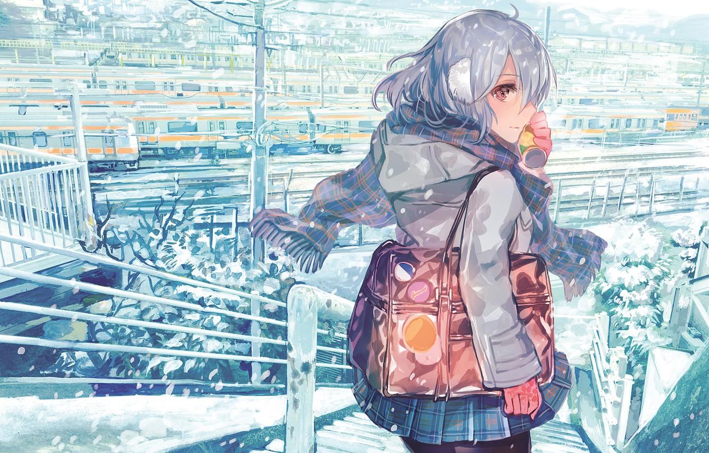 Wallpaper Winter Look Girl Anime Rioka Southern Blue Sky