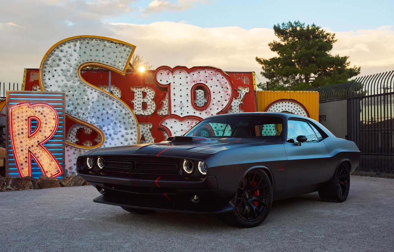 Photo wallpaper black, Dodge, Challenger, Dodge, Black, Challenger