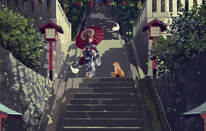 Photo wallpaper anime, Fox, ladder, girl