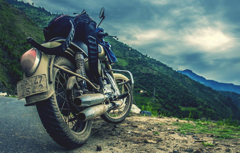Photo wallpaper road, Motorcycle, backpack