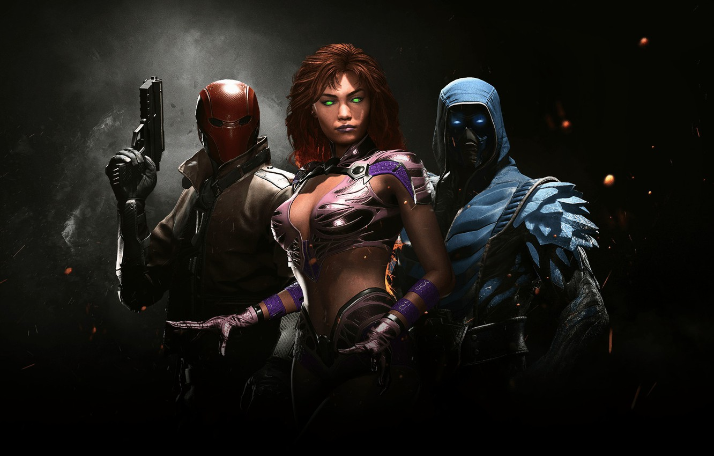 Photo wallpaper game, hero, Sub-Zero, DC Comics, uniform, super hero, Red Hood, Starfire, Injustice 2