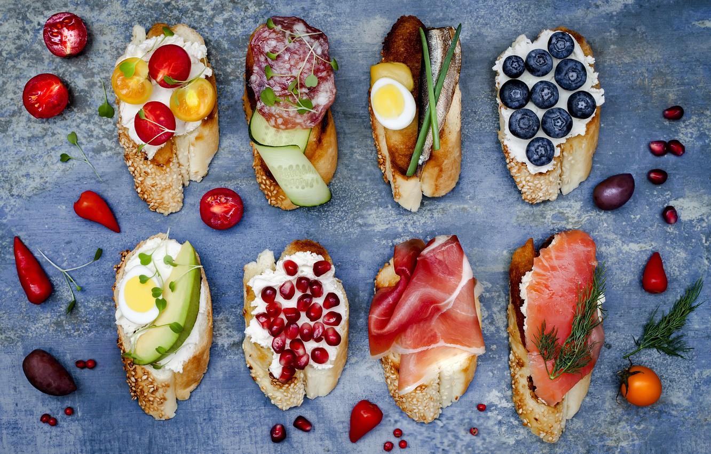 Photo wallpaper berries, cheese, bread, vegetables, baguette, cherry, sandwiches, ham, salami, bruschetta, brushetta