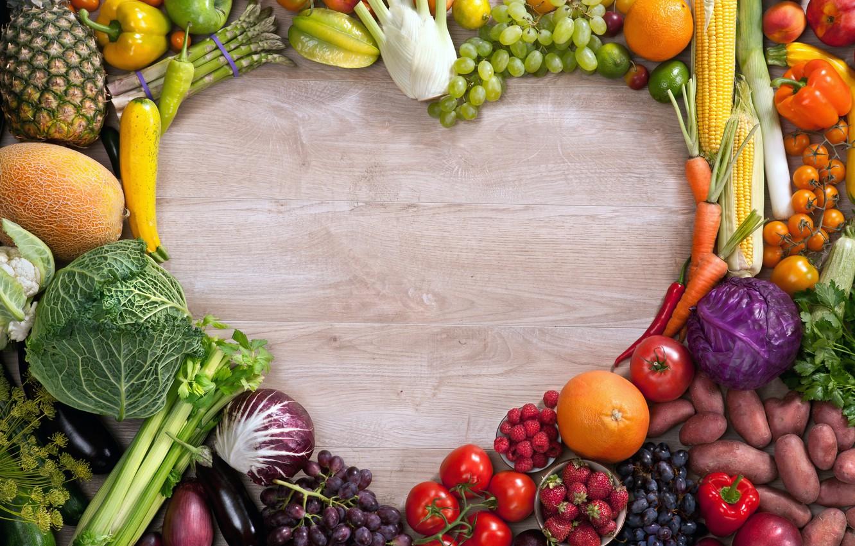 Photo wallpaper raspberry, heart, Apple, orange, corn, strawberry, grapes, eggplant, pepper, fruit, pineapple, vegetables, tomatoes, carrots, cabbage, …