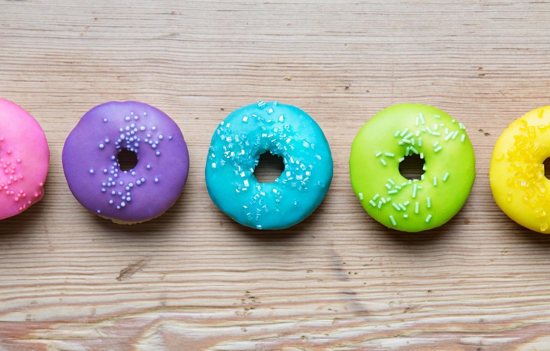 Photo wallpaper colorful, rainbow, donuts, glaze, donuts