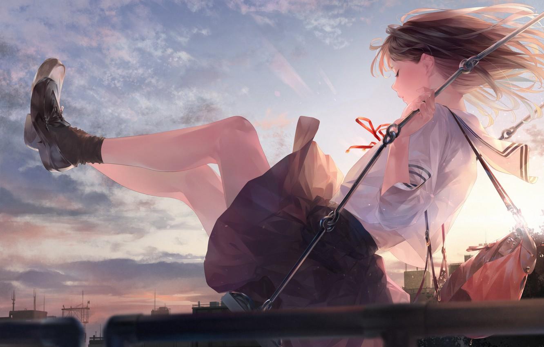 Photo wallpaper girl, sunset, swing