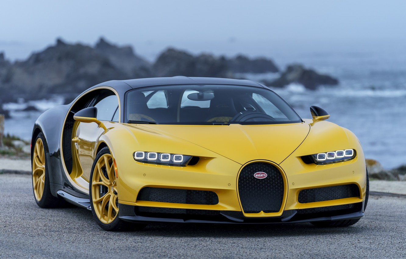 Photo wallpaper Bugatti, yellow, Chiron