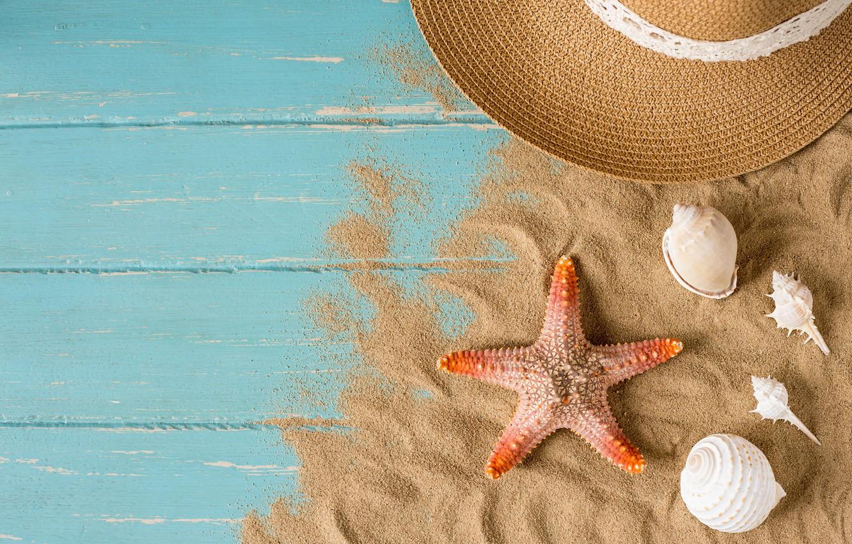 Photo wallpaper sand, beach, summer, stay, star, hat, shell, summer, beach, sand, starfish, seashells