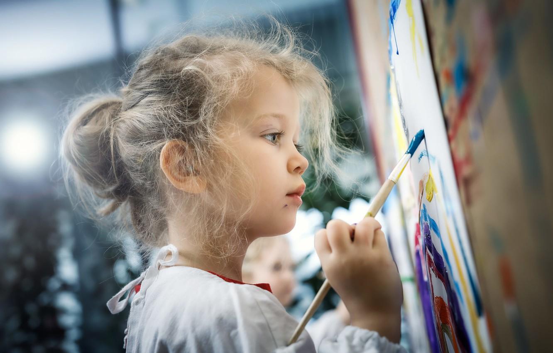 Photo wallpaper paint, girl, creativity, brush, Martin Stone Thaler