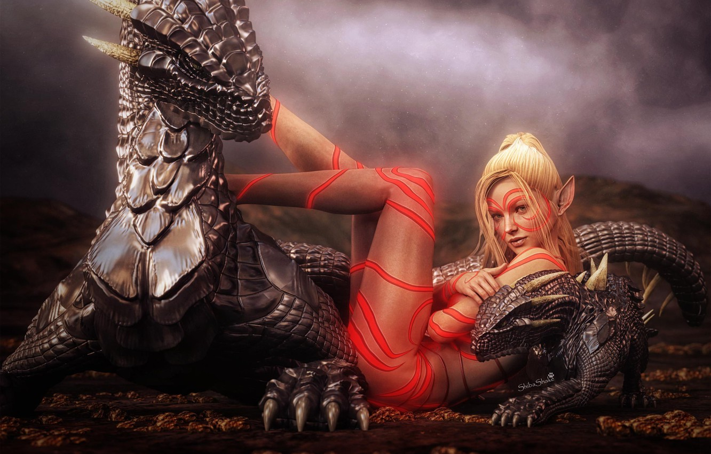 Photo wallpaper girl, elf, dragons, tattoo