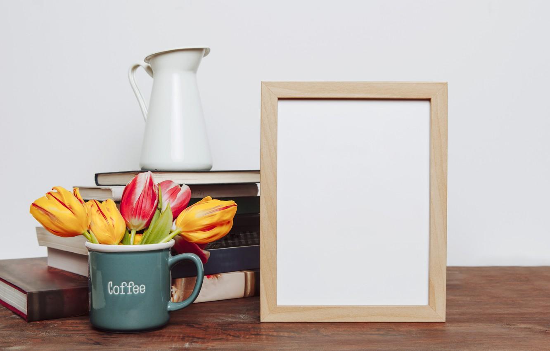 Photo wallpaper flowers, photo, books, bouquet, frame, colorful, mug, tulips, flowers, romantic, tulips, spring, coffee, mug