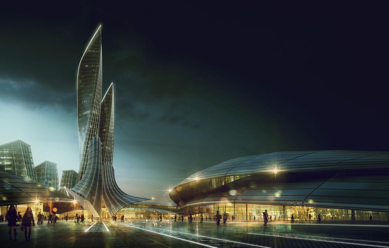Photo wallpaper the city, building, architecture, Eye Level Visualization, Pedro Fernandes