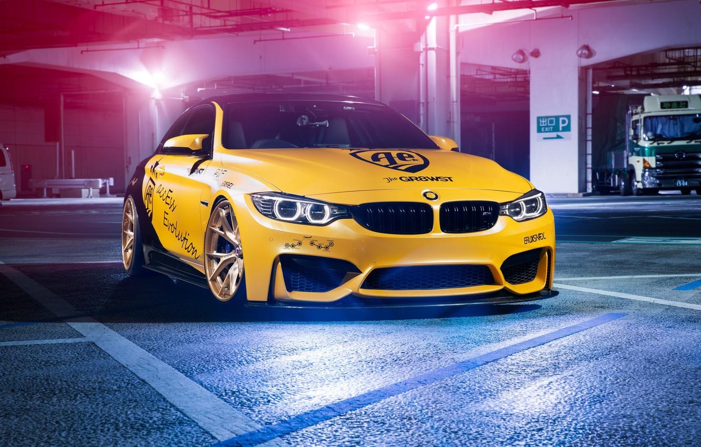 Photo wallpaper BMW, Light, Black, Yellow, F82, Sight, LED