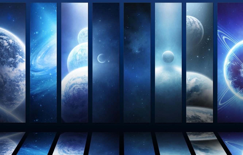 Photo wallpaper space, stars, Planet, universes