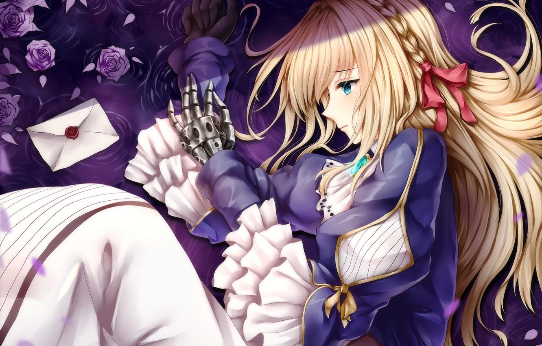 Photo wallpaper girl, roses, lies, Violet Evergarden