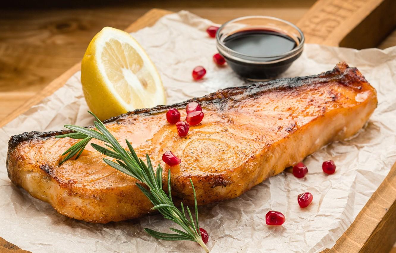 Photo wallpaper salmon, lemon, sauce, garnet, rosemary, fish