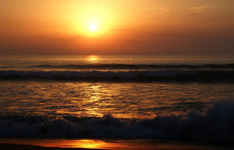 Photo wallpaper sand, sea, wave, beach, summer, the sky, the sun, sunset, shore, summer, golden, twilight, beach, …