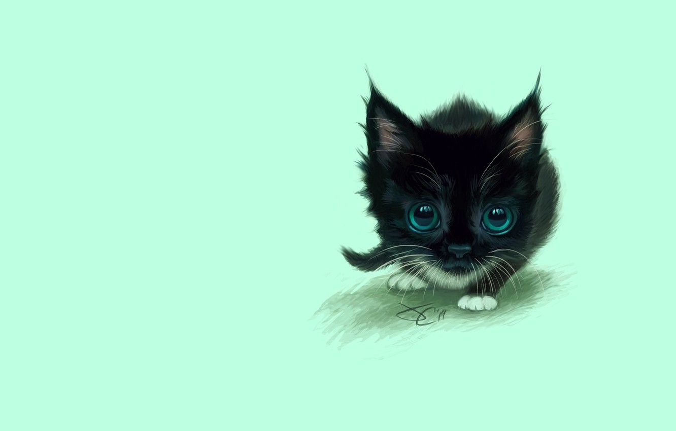 Photo wallpaper cat, the game, figure, eyes, baby, art, kitty