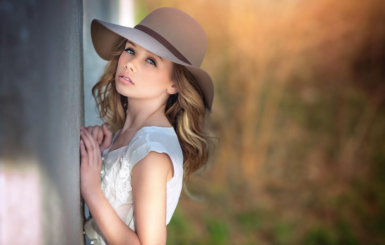 Photo wallpaper girl, hat, Julia Altork