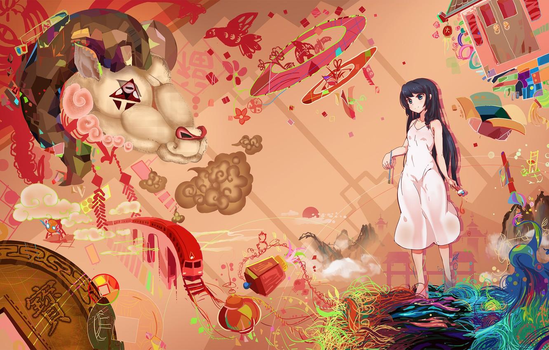 Photo wallpaper girl, animal, anime, art, mianbaoshi mengxiang